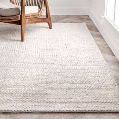 Chunky Woolen Cable Off-White 10 ft. x 13 ft. Area Rug