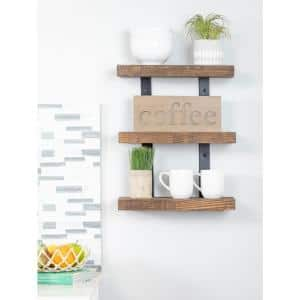 Industrial Grace 5.5in x 20in x 20in Dark Walnut Pine Wood Three-TIer Decorative Wall Shelf with Brackets