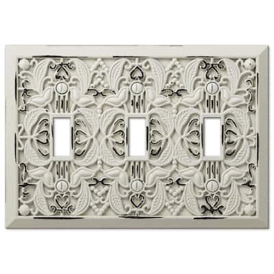 Filigree 3 Gang Toggle Metal Wall Plate - White