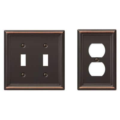 Ascher 2 Gang Toggle and 1 Gang Duplex Steel Wall Plate Combo Pack - Aged Bronze