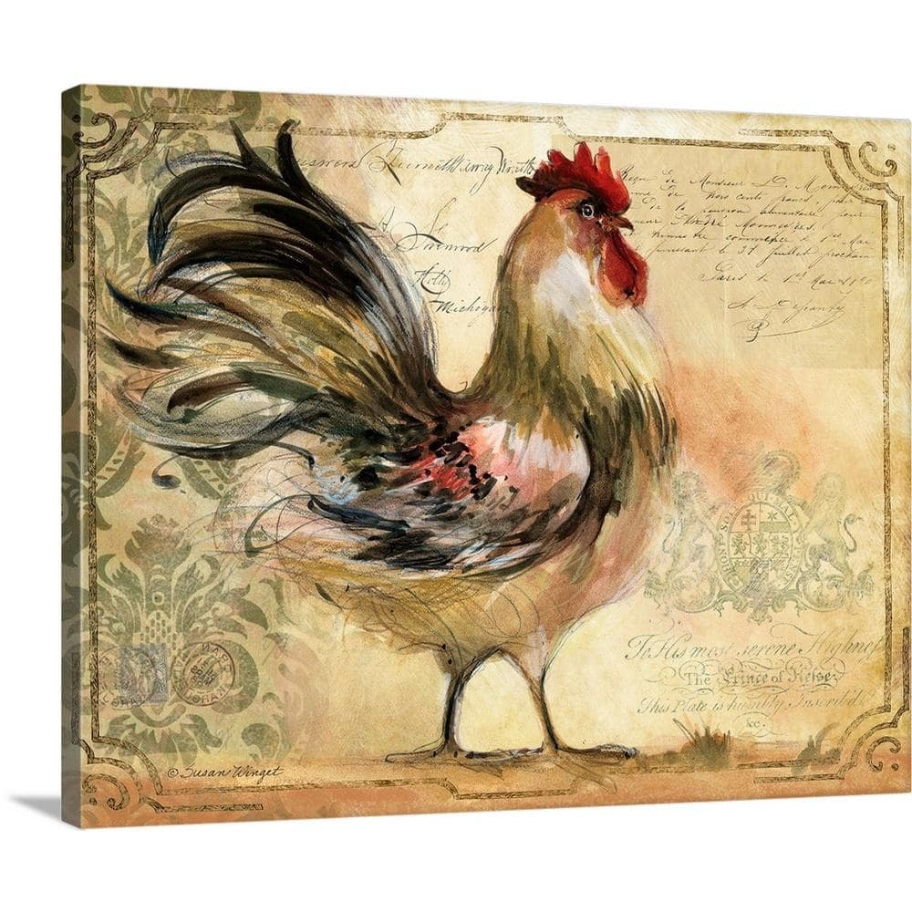 Greatbigcanvas Rooster Framed By Susan Winget Canvas Wall Art 1983512 24 30x24 The Home Depot