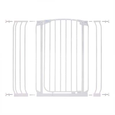 Chelsea 39.4 in. H Extra Tall Auto-Close Security Gate in White with Extensions