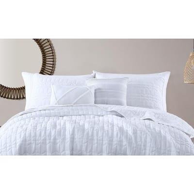 Kori Soft-Washed 5-Piece White Polyester King Quilt Set