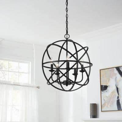 Sarolta Sands 5-Light Black Orb Chandelier