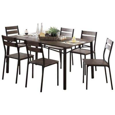 Antique Brown 7-Piece Metal and Wood Dining Table Set with Chairs