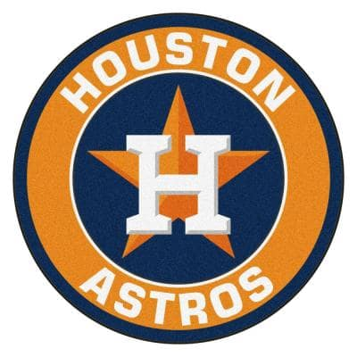 MLB Houston Astros Orange 2 ft. x 2 ft. Round Area Rug