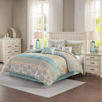 Felicity 7-Piece Green Floral Cotton Queen Comforter Set
