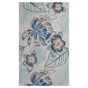Tropical Outlines Ivory/Blue 5 ft. x 8 ft. Area Rug