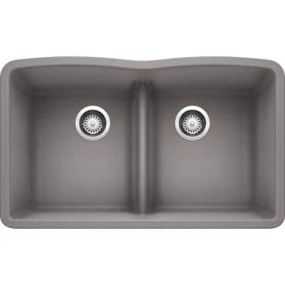 DIAMOND Undermount Granite Composite 32.06 in. 50/50 Double Bowl Kitchen Sink with Low Divide in Metallic Gray