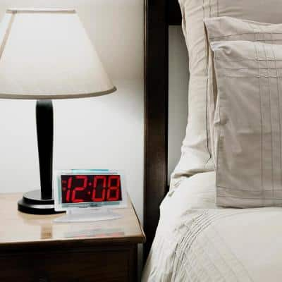 Clear 1.8 in. Red LED Alarm Table Clock