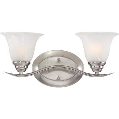 Trinidad 2-Light Indoor Brushed Nickel Bath or Vanity Wall Mount Sconce with Alabaster Glass Bell Shades