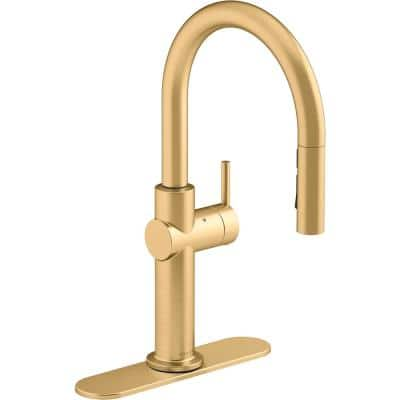 Crue Single-Handle Touchless Pull-Down Sprayer Kitchen Faucet in Vibrant Brushed Moderne Brass