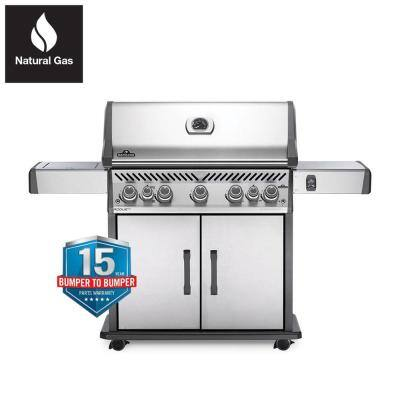 Rogue 5-Burner Natural Gas Grill with Infrared Rear and Side Burners in Stainless Steel