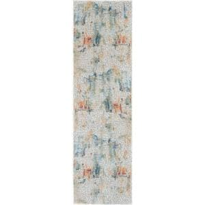 Global Vintage Ivory/Multicolor 2 ft. x 8 ft. Oriental Contemporary Runner Rug