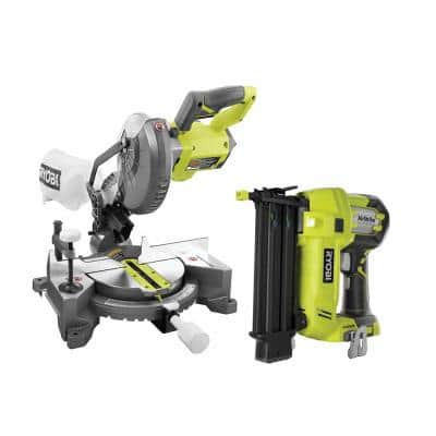 ONE+ 18V Lithium-Ion Cordless 7-1/4 in. Compound Miter Saw and AirStrike 18-Gauge Brad Nailer (Tools Only)