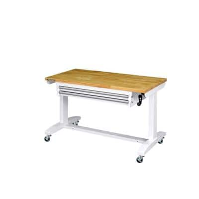 46 in. Adjustable Height Work Table with 2-Drawers in White