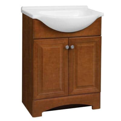 Chelsea 26.5 in. W Bath Vanity in Bourbon Cherry with Cultured Marble Vanity Top in White with White Sink