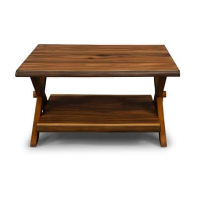 Forest Retreat 36 in. Brown Small Square Wood Coffee Table with Shelf