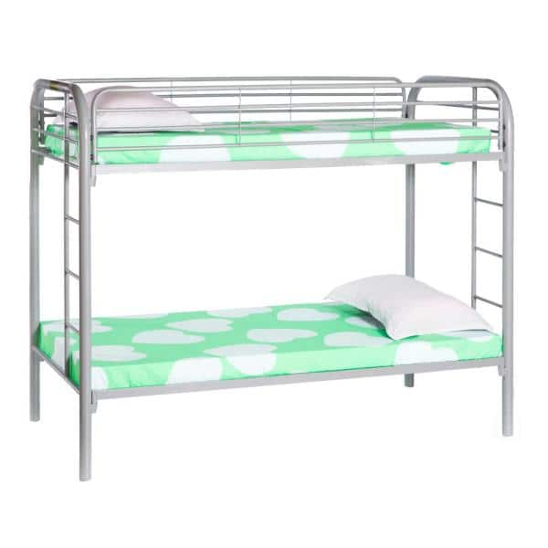 Twin Over Silver Grey Twin Metal Bunk Bed With Double Ladder Qi003526s The Home Depot