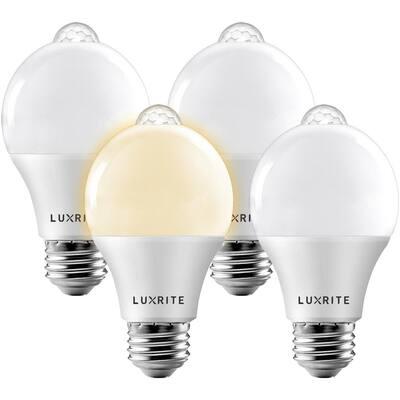 60-Watt Equivalent A19 E26 Base Motion Sensor Dusk to Down Sensor LED Light Bulb 3000K Soft White 4-Pack