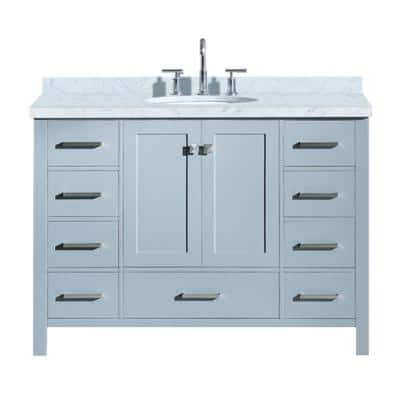 Cambridge 49 in. Bath Vanity in Grey with Marble Vanity Top in Carrara White with White Basin