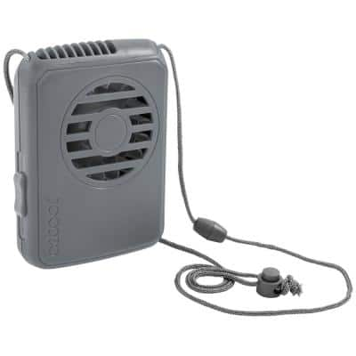 Deluxe Necklace 2.5 in. 1-Speed Battery Powered Personal Fan with Lanyard in Gray