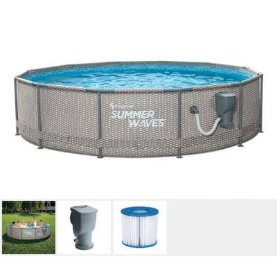 12 ft. Round 33 in. D Metal Frame Pool Set with Pump