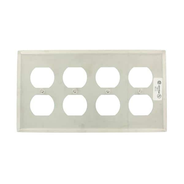 Leviton Stainless Steel 4 Gang Duplex Outlet Wall Plate 1 Pack 84041 40 The Home Depot