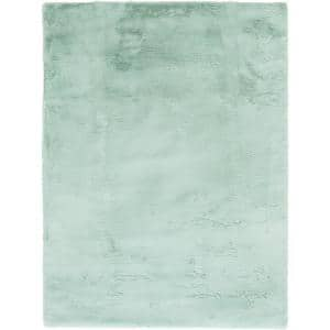 Bazaar Piper Seafoam 5 ft. x 7 ft. Solid Polyester Area Rug