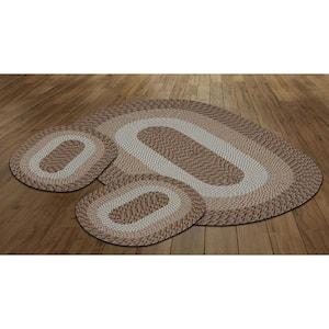 Country Braid Collection 3-Piece Straw Stripe 100% Polypropylene Reversible Area Rug Set - (20''x30''/36''x60''/20''x30'')