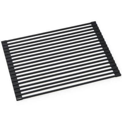 Kore Workstation 16.9 in. Multipurpose Over Sink Roll-Up Dish Drying Rack in Matte Black