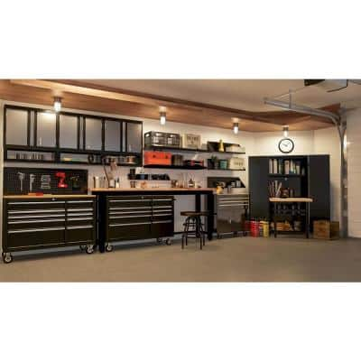 Ready-to-Assemble 8 ft. Adjustable Height Solid Wood Top Workbench in Black