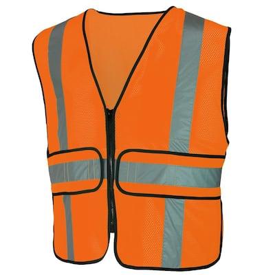 Hi Visibility Orange Class 2 Reflective Adjustable Safety Vest