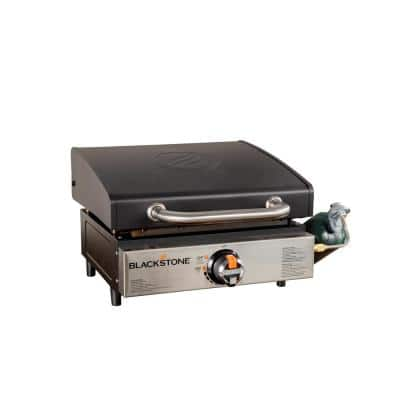 17 in. Tabletop 1-Burner Portable Propane Griddle in Stainless Steel and Black with Hood