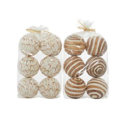 White Dried Flower Natural Orbs and Vase Filler (Set of 2)
