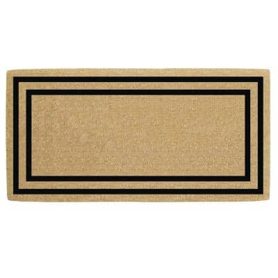 36 in. x 72 in. Heavy Duty Coco Black Thin Double Picture Frame, Plain Door Mat