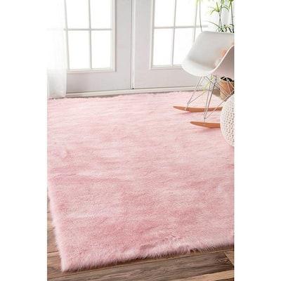 Cloud Faux Sheepskin Plush Shag Pink 5 ft. x 7 ft.  Area Rug