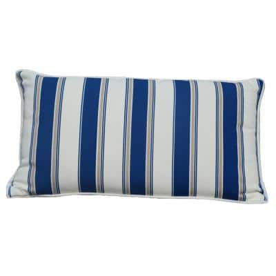 Luxury Canvas Blue Striped Rectangular Outdoor Throw Pillow