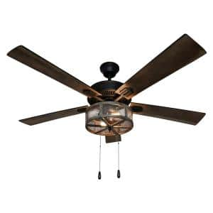 Prairie 52 in. LED Oil Rubbed Bronze Caged Ceiling Fan With Light
