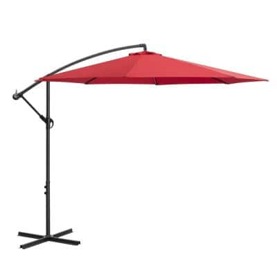 10 ft. Cantilever Outdoor Sunshade Umbrella with Cross Base in Red
