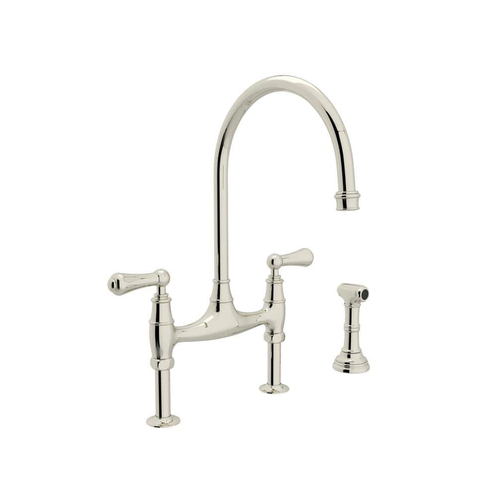 Rohl Perrin And Rowe 2 Handle Bridge Kitchen Faucet With Side Sprayer In Polished Nickel U 4719l Pn 2 The Home Depot