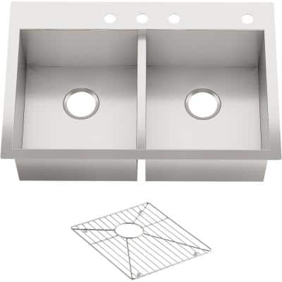 Vault Dual Mount Stainless Steel 33 in. 4-Hole Double Bowl Kitchen Sink with Basin Rack