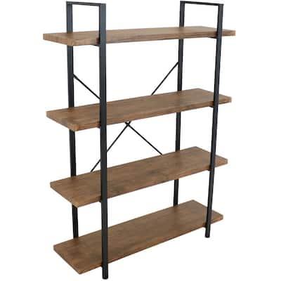 55in Teak Industrial Style 4 -Shelf Standard Bookcase
