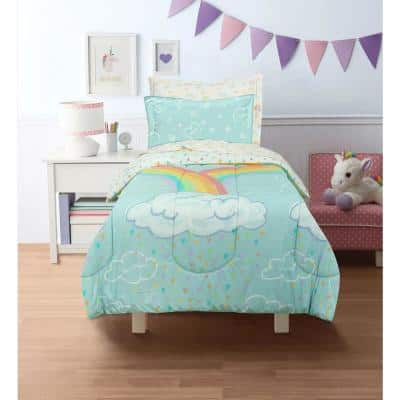 Rainbow Clouds Super Soft Twin Bed in a Bag with Reversible Comforter and Sheet Set