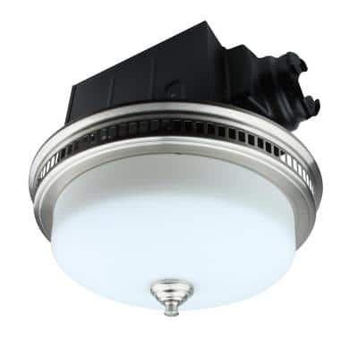 Decorative 110 CFM Ceiling Bathroom Exhaust Fan with Glass and Night Light in Brushed Nickel