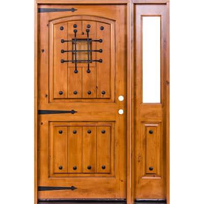 50 in. x 96 in. Mediterranean Knotty Alder Arch Unfinished Left-Hand Inswing Prehung Front Door/Right Half Sidelite