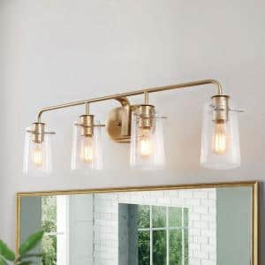 Modern Bathroom Vanity Light 4-Light Warm Brass Gold Bath Light Interior Bath Bar Light with Bell Seeded Glass Shades