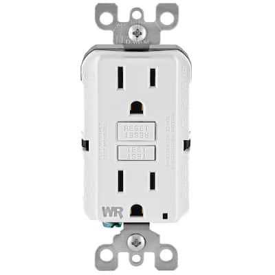15 Amp 125-Volt Self-Test Tamper Resistant/Weather Resistant GFCI Duplex Outlet, White (3-Pack)