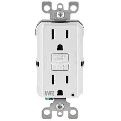 15 Amp 125-Volt Duplex Self-Test Tamper Resistant/Weather Resistant GFCI Outlet, White