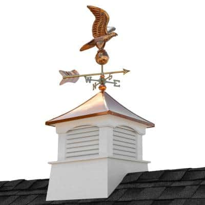 26 in. x 26 in. x 63 in. Coventry Vinyl Cupola with Copper Eagle Weathervane